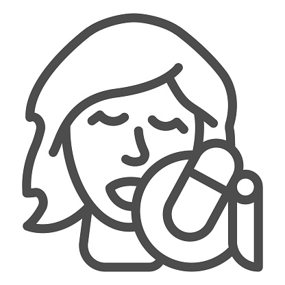 Singing vocalist with studio microphone line icon, Sound design concept, Woman with microphone sign on white background, Singer woman icon in outline style for mobile, web. Vector graphics
