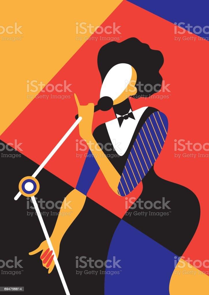 Chant femme. - Illustration vectorielle
