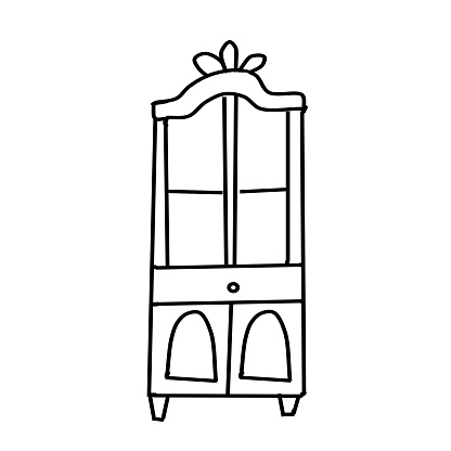A single antique cupboard drawn in a Doodle style. Collection of antique cabinets isolated on a white background. Furniture and decorative elements for interiors.Hand drawn vector illustration.