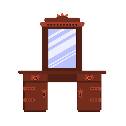 Single antique dressing table in a flat cartoon style. Vector icon  of vintage furniture for bedroom and living room.  The vector illustration is isolated on a white background.