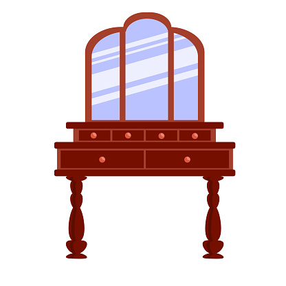 Single antique dressing table in a flat cartoon style. Vector  of vintage furniture for bedroom and living room.  The vector illustration is isolated on a white background.