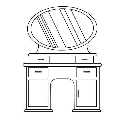 Single antique dressing table in a linear style. Vector Outline of vintage furniture for bedroom and living room.  The vector illustration is isolated on a white background. sketch