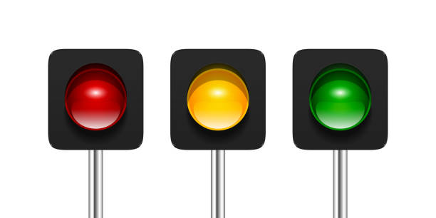 single aspect traffic lights - stoplights stock illustrations, clip art, cartoons, & icons