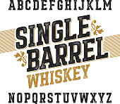 Single barrel whiskey label font