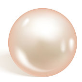 Single beautiful shiny natural pearl isolated on white background. Soft apricot pearl. Vector illustration.