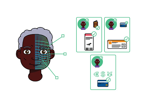 Single black American elder woman using facial recognition and 5G to validate an identity, pay or check-in.