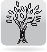 Vector illustration of a natural tree icon. Leafy tree branches growth concept. Black and white infographic icon for website or online interface usage. Can be used as web button symbol. Simple and text based design. Fully editable and  easy to edit vector illustration layers. Includes sample text design and shadow below.