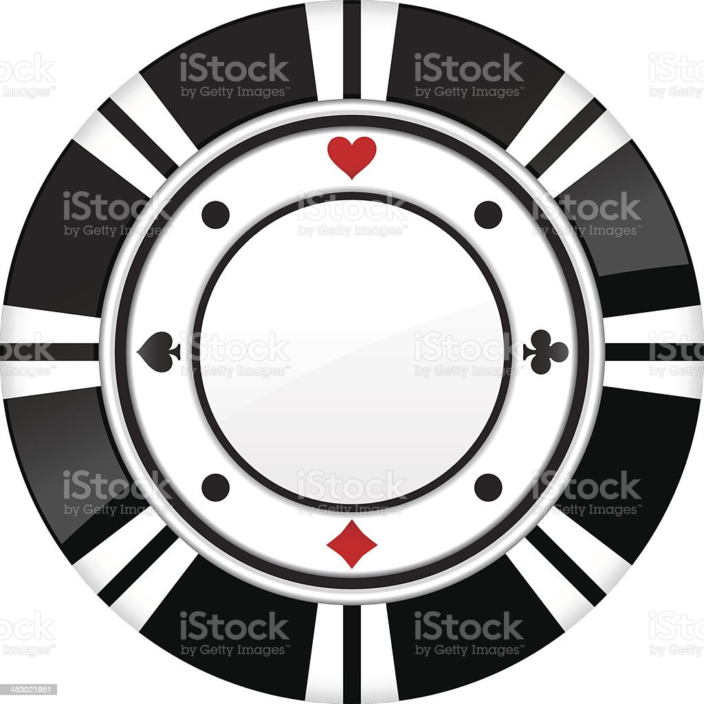 Single black casino chip isolated on white background royalty-free stock vector art