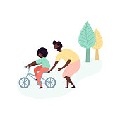 Single black father and son african americans spending time together - teaching kid riding bike on street in park outdoor activity. Vector illustration in flat cartoon style