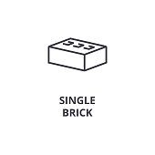 single brick vector line icon, sign, illustration on background, editable strokes