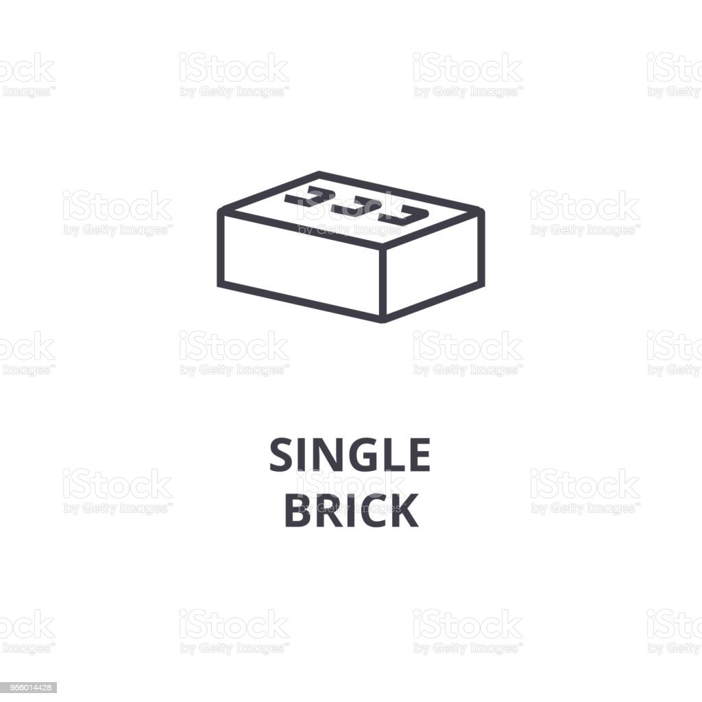 single brick vector line icon, sign, illustration on background, editable strokes vector art illustration