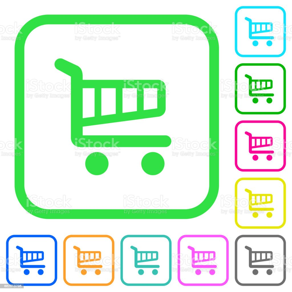 Single cart vivid colored flat icons icons vector art illustration
