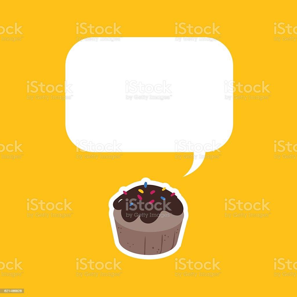 Single chocolate muffin sticker with big copy space single chocolate muffin sticker with big copy space – cliparts vectoriels et plus d'images de aliment libre de droits