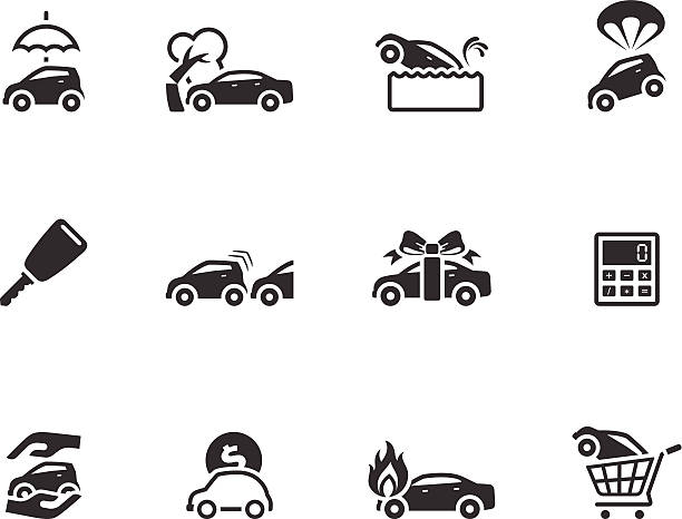 single color icons auto insurance vector art illustration