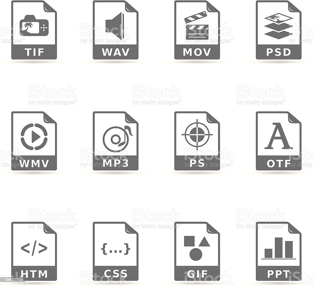 Single Color Icons - More File Formats vector art illustration