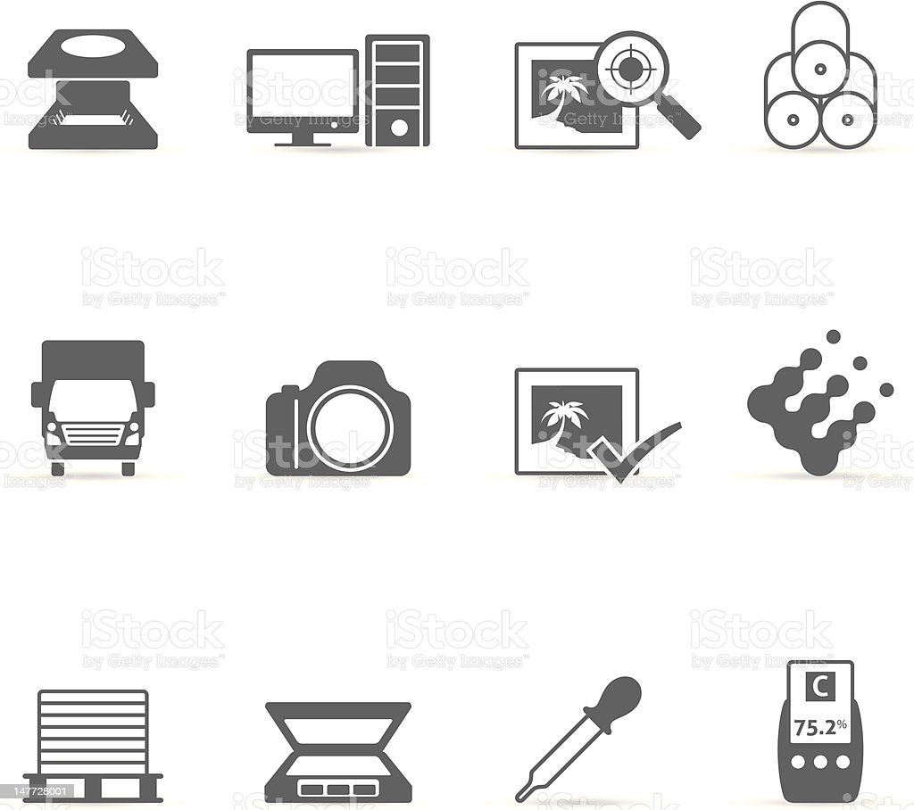 Single Color Icons - More Printing & Graphic Design royalty-free stock vector art