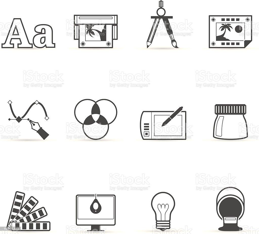 Única cor ícones-impressão & Design gráfico - ilustração de arte em vetor