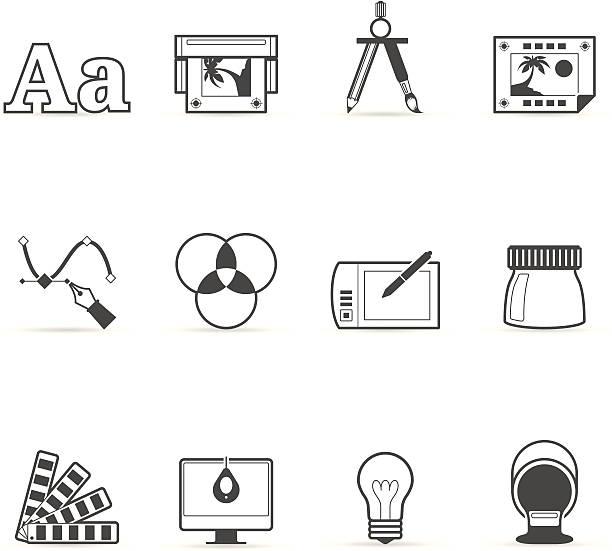 ilustrações, clipart, desenhos animados e ícones de única cor ícones-impressão & design gráfico - fontes e tipografia