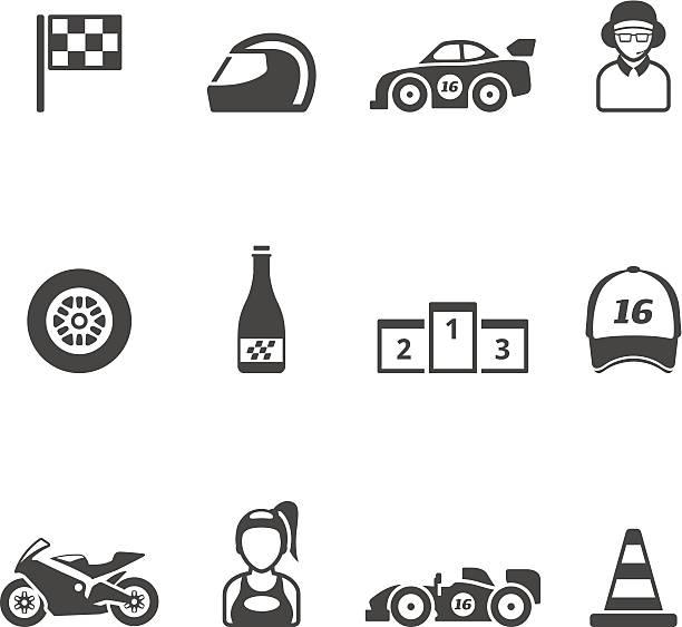 ilustrações de stock, clip art, desenhos animados e ícones de cor única ícones-corridas - helmet motorbike