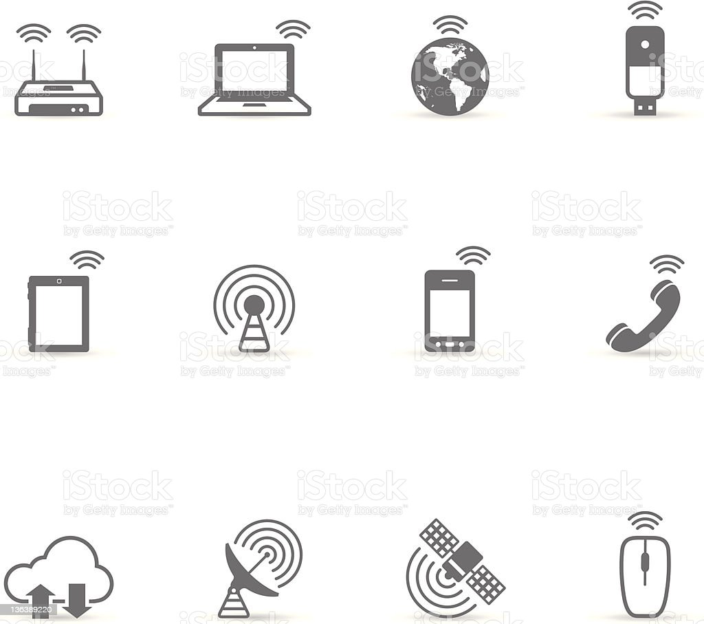 Single Color Icons - Wireless World vector art illustration