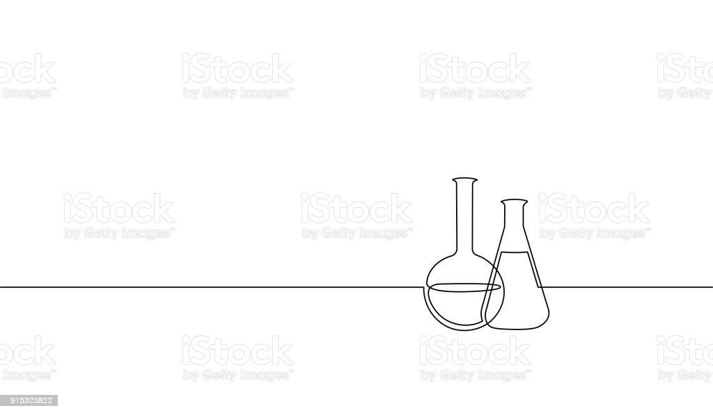 単一連続線アート化学フラスコ。科学技術研究医学ガラス装置設計ベクトル図を描く 1 つのスケッチの輪郭 ベクターアートイラスト