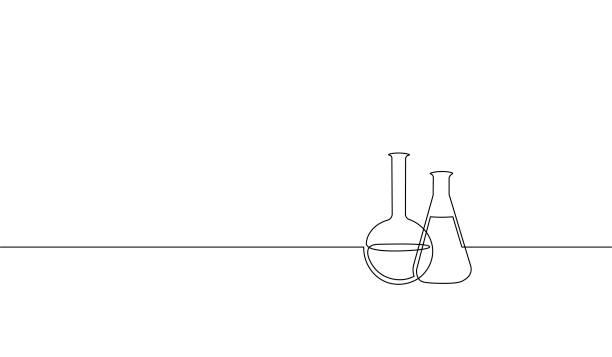 ilustraciones, imágenes clip art, dibujos animados e iconos de stock de matraz de ciencias químicas de arte sola línea continua. equipo de tecnología científica investigación medicina vidrio diseñar un boceto croquis ilustración vectorial - laboratory