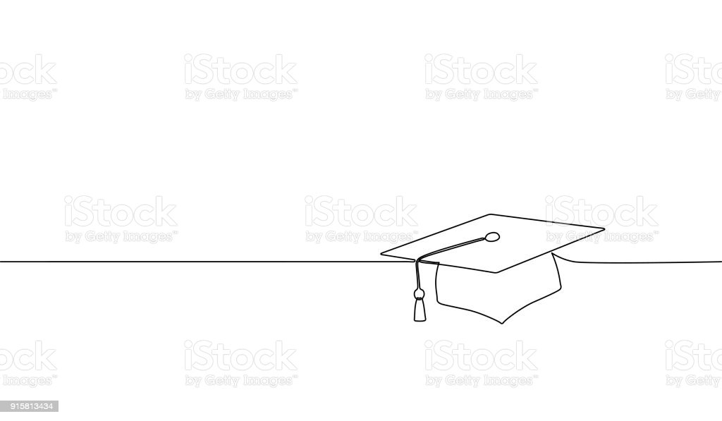Single continuous line art graduation cap. Celebration ceremony master degree academy graduate design one sketch outline drawing vector illustration vector art illustration