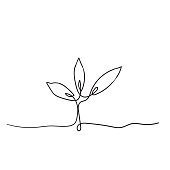 istock Single continuous line art growing sprout handdrawn doodle style 1197575233