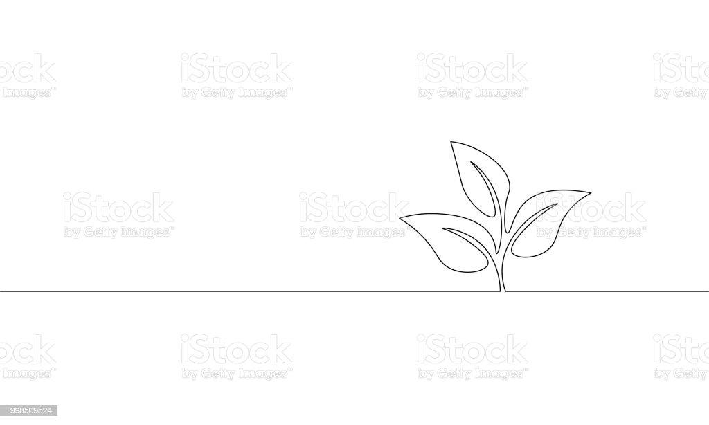 Enda kontinuerlig linje konst växer sprout. Utsäde av bladen växa jord fröplanta eco naturliga gård koncept design en skiss översiktsritning vektorillustration - Royaltyfri Abstrakt vektorgrafik