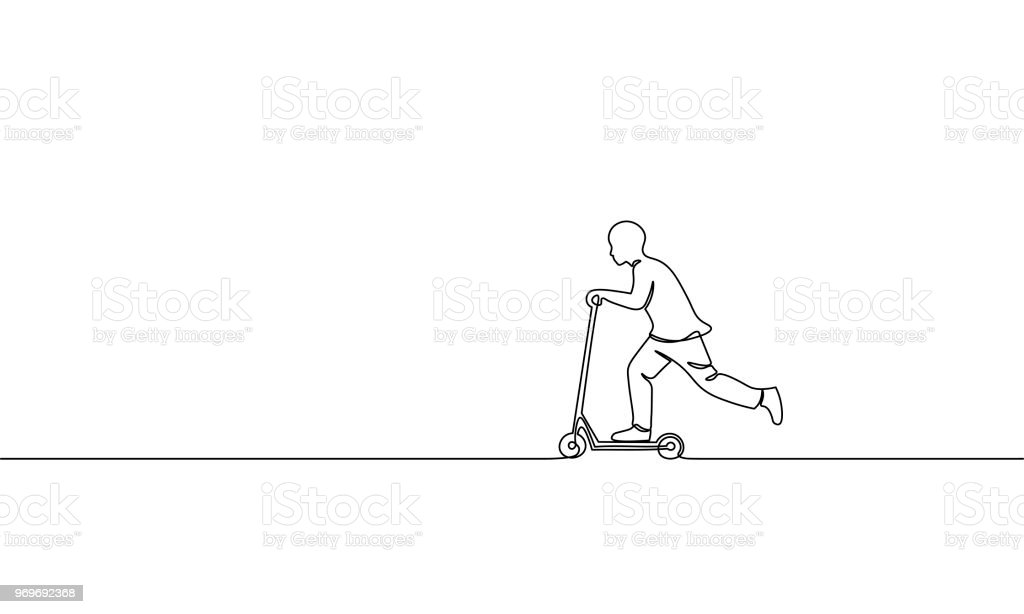 Single continuous one line art boy riding scooter. Kids sport activity hobby holiday school recreation fun concept childhood outdoor design sketch outline drawing vector illustration