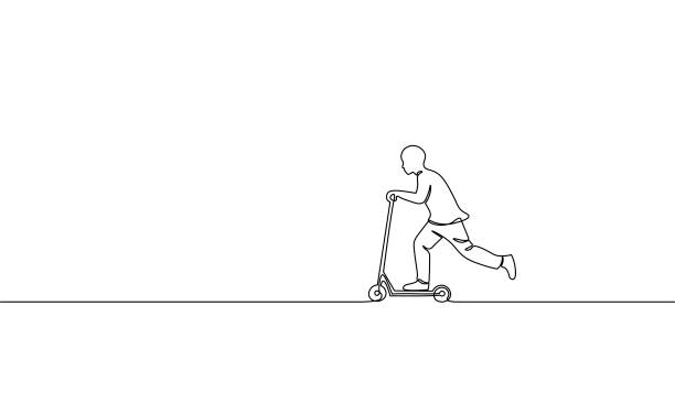 single continuous one line art boy riding scooter. kids sport activity hobby holiday school recreation fun concept childhood outdoor design sketch outline drawing vector illustration - single object stock illustrations