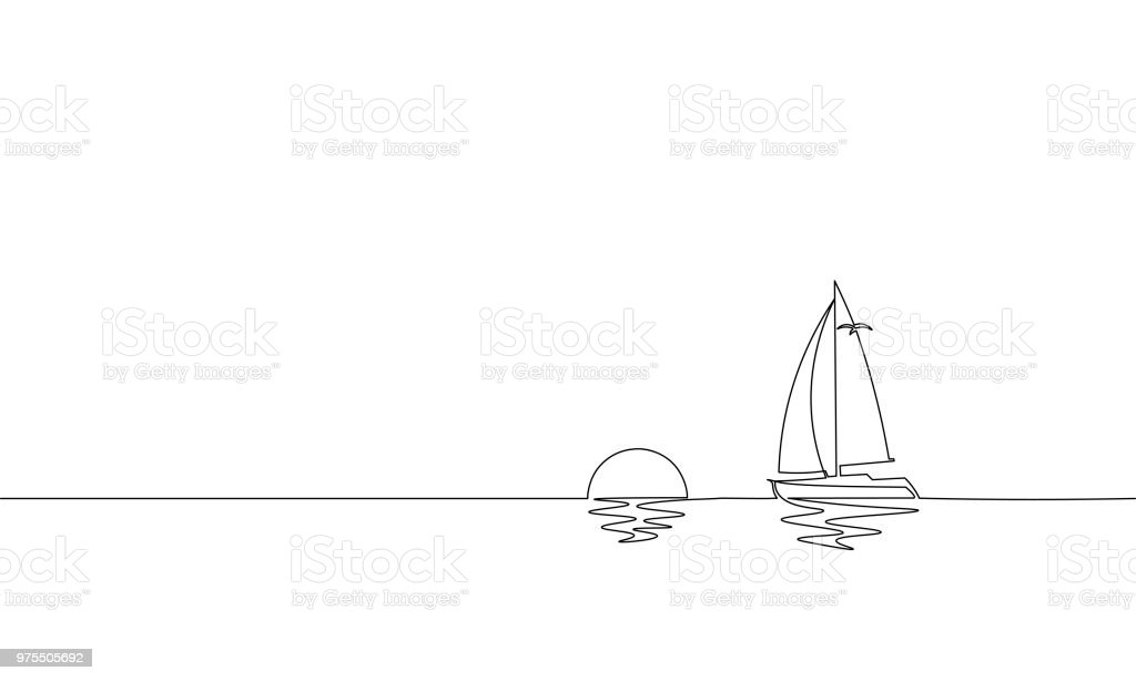 Line Drawing Sunrise : Single continuous one line art sunny ocean travel vacation
