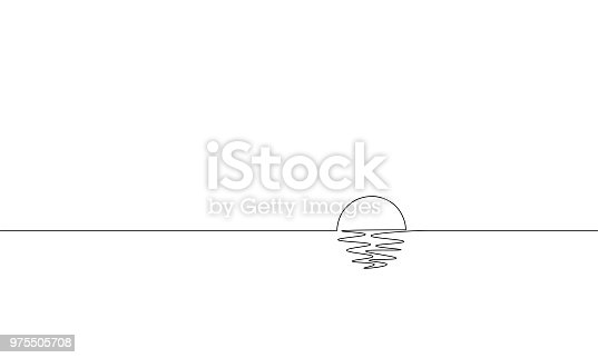 Single continuous one line art sunny ocean view. Sea voyage sunrise holiday tropical luxury journey sunset concept design sketch outline drawing vector illustration art