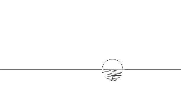 單連續一線藝術陽光海景。海上航行日出假日熱帶豪華之旅日落概念設計素描示意圖向量圖 - 一個物體 幅插畫檔、美工圖案、卡通及圖標