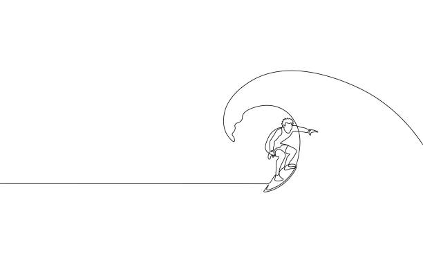 Single continuous one line art surfer vacation sea wave. Active sport summer holiday tropical luxury journey surfboard concept design sketch surfing outline drawing vector illustration Single continuous one line art surfer vacation sea wave. Active sport summer holiday tropical luxury journey surfboard concept design sketch surfing outline drawing vector illustration art surfing stock illustrations
