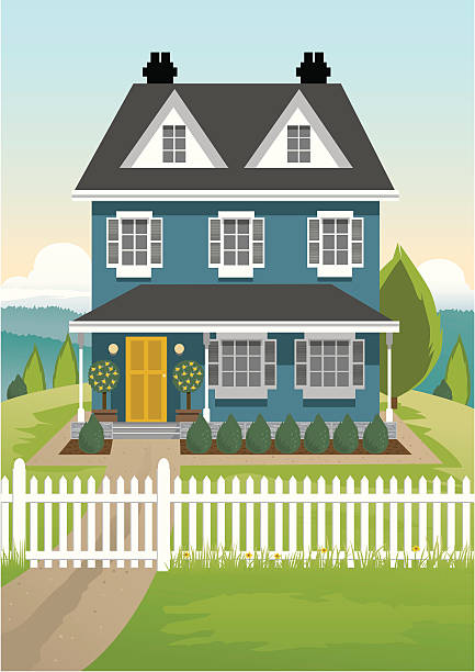Single Country House Single detailed house on a hill, with surrounding grass and a front picket fence. Green trees and hills in the background. Artwork on separate and editable layers. Download includes an AI8 EPS vector file and a high resolution JPEG file (min. 1900 x 2800 pixels).  Simliar file: front door stock illustrations