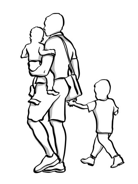 Single Dad And Two Kids vector art illustration