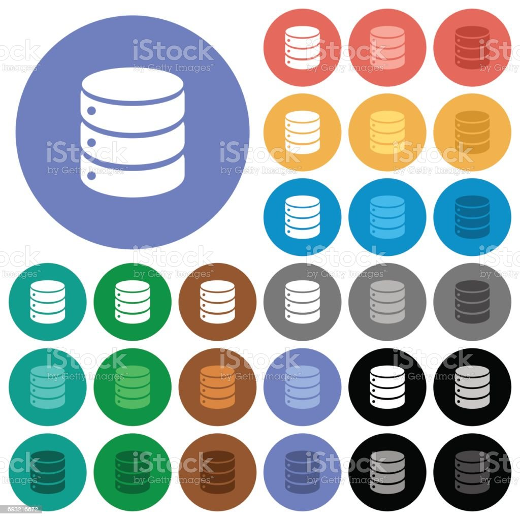 Single database round flat multi colored icons royalty-free single database round flat multi colored icons stock vector art & more images of backgrounds