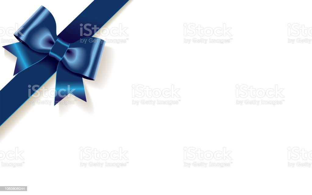 Single Decorative Blue Satin Bow With Diagonally Ribbon On The Corner  Isolated On White Background Stock Illustration - Download Image Now