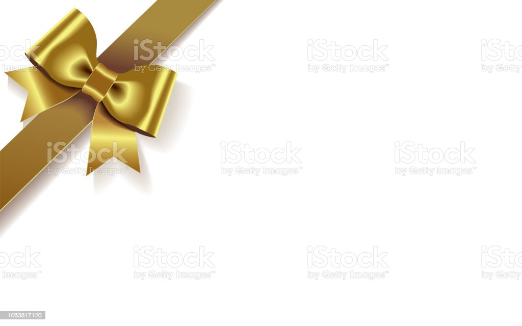 Single Decorative Golden Satin Bow With Diagonally Ribbon On