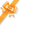 Single decorative orange satin bow with diagonally ribbon on the corner isolated on white background.Empty place for text.Vector illustration.