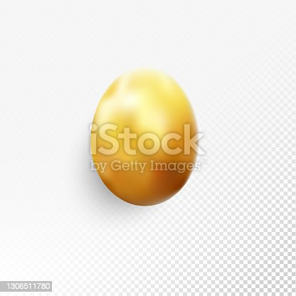 istock Single Easter Egg object in vector isolated on transparent background - luxury golden jewelry - hyper-realistic abstract illustration - shape painted on gold with soft light and shadows and shiny surface - greeting card design template 1306511780