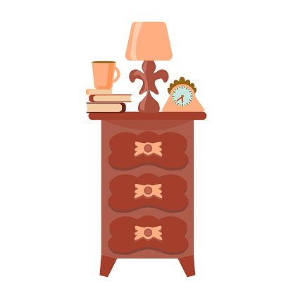 A single elegant antique night table with a lamp and books, isolated on a white background. Retro chest of drawers in a flat style. Vector hand-drawn vintage furniture.
