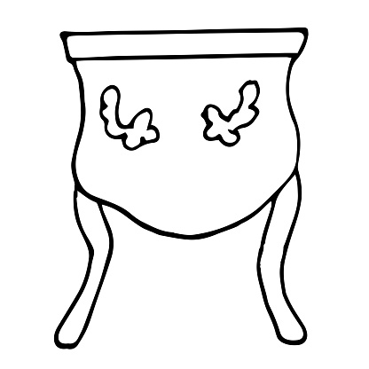 A single elegant antique nightstand isolated on a white background. Retro chest of drawers in Doodle style. Vector drawn Vintage furniture.