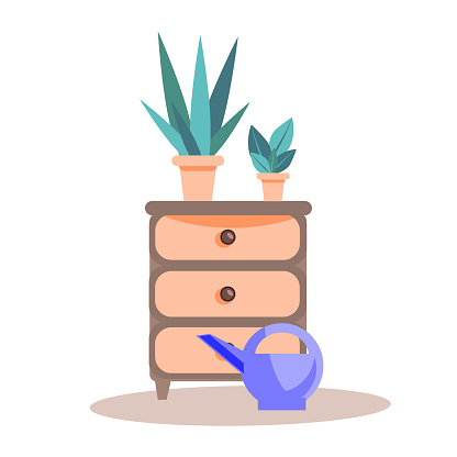 A single elegant  night table with a flowers and watering can, isolated on a white background. Retro chest of drawers in a flat style. Vector hand-drawn vintage furniture.