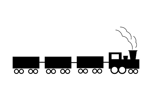 Single element of cargo train, Industrial logistics and trucking illustration. Hand drawn vector icons for business, web design, logo, infographic, cards, and professional design.