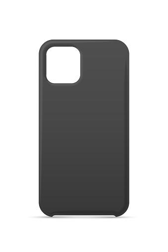 Single empty phone black cover case mockup design