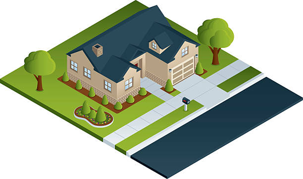 stockillustraties, clipart, cartoons en iconen met single family home - garden house
