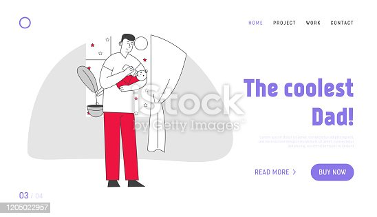 istock Single Father Raising Child Website Landing Page. Dad Feed Son with Bottle Holding Baby on Hands. Little Boy Having Breakfast with Daddy Web Page Banner. Cartoon Flat Vector Illustration, Line Art 1205022957
