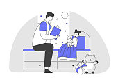 Single Father Reading Book Daughter Lying in Bed. Happy Family of Parent with Kid Spending Time at Home Together. Baby Girl Listening Dad. Sparetime, Leisure Cartoon Flat Vector Illustration, Line Art
